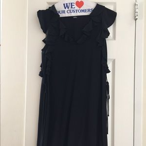 Club Monaco black silk ruffle dress